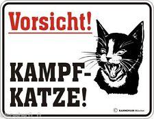 Blechschild 17 x 22, Kampf- Katze, Werbeschild Art. 3027