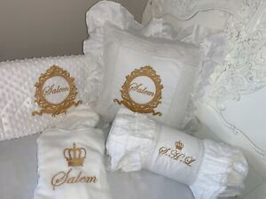 personalised baby embroidered frilly bedding sets