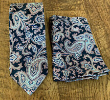 NWOT BRIONI Purple, Pink and Blue Tie With Matching Pocket Square 100% Silk