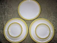 Lot 5  Pieces FRIS Holland Mid Century Dinnerware White Yellow 3 Dinner 2 Bread