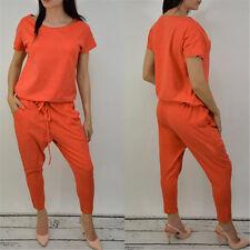 Summer Women's Casual Loose Lace-up One piece Harem Pants Party Jumpsuit Romper