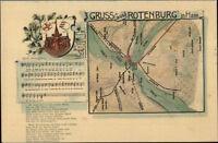 Gruss Aus Rothenburg Germany MAP & Sheet Music c1905 Postcard