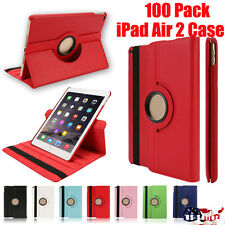 Wholesale lot of 100 iPad Air 2 360 Pu Leather folio case cover stand wake/sleep