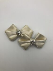Vintage Classic Shoe Bow Clips White Rhinestones Retro Wedding