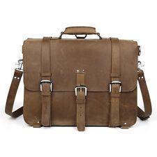 """Men's Large Leather Backpack 17"""" Laptop Bag Messenger Shoulder Bag Carry On Case"""