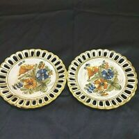 """Vintage Meiselman Imports Plate New York Flower #E976 Italy 9 1/2"""" Lot of 2"""