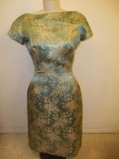 Vintage SUZY PERETTE Saks 5th Ave. Seafoam Green +Gold Flower Print Wiggle Dress