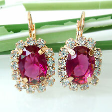 Navachi Rose-Red Square 18K GP Crystal Leverback Earrings BH2652