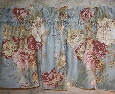 Custom Waverly Ballad Bouquet Blue Gathered Valance