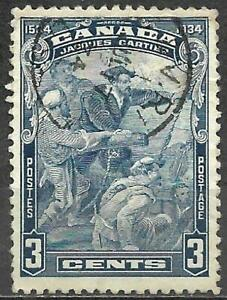 Canada 1934 Stamp Scott #208 Used 3c Cartier's Arrival At Quebec