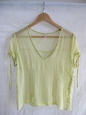 Veronika Maine Size 14 Pale Yellow Sheer Silk Tee Shirt