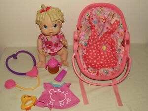 Baby Alive 2009 ALL GONE DOLL w Bottle, Backpack Carrier Car Seat, Accessory Lot
