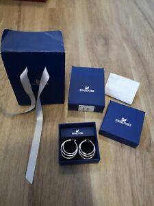 Swarovski Earrings - NEW - Genuine 3 Hoop Silver Earrings Boxed