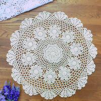 White Vintage Hand Crochet Lace Doily Round Table Topper Small Tablecloth 20""