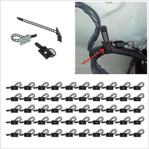 50in1 Adjustable Self-Adhesive Car Wire Fixed Cable Tie Clamp Clip Organizer