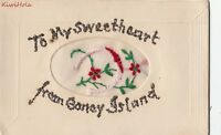 Postcard To My Sweetheart Coney Island NY Hand Stitched