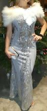 QUIZ STUNNING SILVER SEQUIN MAXI EVENING PARTY PROM OCCASION DRESS SIZE 10 NEW