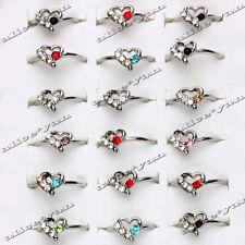 5Pcs Wholesale Heart Rhinestone Woman Fashion Wedding Silver Tone Rings FREE