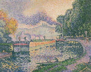 Paul Signac The Tugboat Canal in Samois Giclee Paper Print Poster Reproduction
