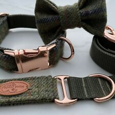 Barbour Green Tweed Dog Collar Bow Lead Set Rose Gold Metal Buckle Countrywear