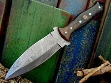 Full Tang Twist Pattern Damascus Steel Traditional Dagger Knife Horn Handle A 52