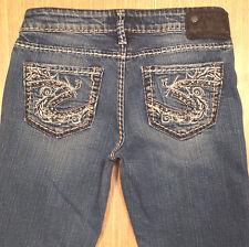 SILVER Jeans AIKO Bootcut 25x33 Medium Blue Distressed  *MINT LN*  J040817