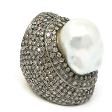 NYJEWEL 14k Gold Sterling Silver 3ct Colored Diamond Pearl Huge Ring
