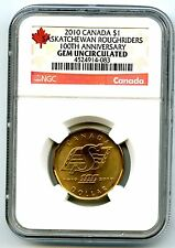 2010 CANADA $1 SASKATCHEWAN ROUGHRIDERS NGC GEM UNCIRCULATED DOLLAR LOON LOONIE