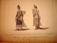 ROYAUME D' AVA BIRMANIE BIRMAN Woongee Chief concil and wife 1800