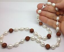 "Freshwater Pearl & Wood Bead Necklace Sterling Silver, 20"" Length, UK Seller."
