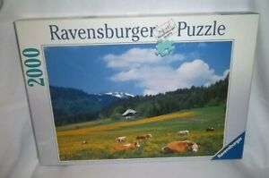 RAVENSBURGER 2000 Piece IN THE BLACK FOREST Jigsaw PUZZLE Germany Mountains Cows