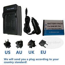 Battery + charger for Samsung BP70A ES70 SL50 PL80 PL100 PL120 PL170 SL600 SL630