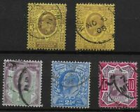 KEVII- 5 Stamps- Good/ Fine Used Condition. Unchecked For SG No.,Etc.  Ref:07155