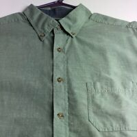 Roundtree & Yorke Men's Short Sleeve Button Up Shirt XL Green Pocket Casual