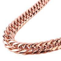 13/16mm Rose Gold Stainless Steel Curb Chain Necklace Bracelet for Men Hip Hop