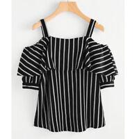 Fashion Women Off Shoulder Strapless Ruffles Stripe Print T-shirt Blouse Top US