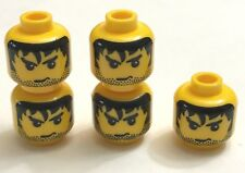 NEW* 5 Pcs Lego Minifig YELLOW Head Male Stubble BLACK MESSY HAIR Angry Eyebrows