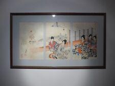 More details for large fine japanese triptych antique prints 1895 chikanobu chiyoda samurai