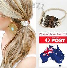 Retro Hair Tie Ponytail Elastic Hairdo Accessory Vintage Leaf Metallic Gold