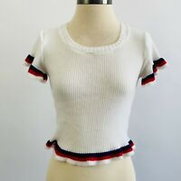 Vintage 50s Pin Up Style One Size Stretch White Ribbed Ruffled Sleeve Hem Top