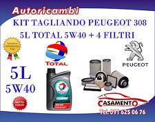 KIT TAGLIANDO 5L TOTAL 5W40 + FILTRI PEUGEOT 308 2.0 HDI 16V 100KW DAL 09/07-->
