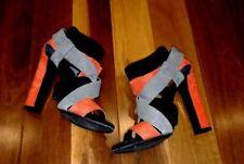 Pierre Hardy Red Grey Black Suede Block High heel Sandals sz 39 Centenera