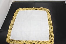 Vintage White  Handkerchief/Hankie/Hanky Yellow crocheted edge