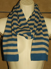 "SFERA - Teal Blue & Tan - 100% Rayon Knit - LONG Winter SCARF 6"" x 87"" *NICE"
