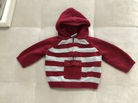 Gymboree Baby Boy Hooded Sweater Size 3-6 Month Red Gray