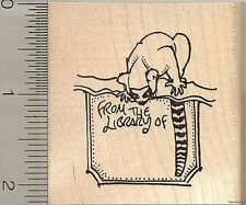 Lemur Library Book Plate Rubber Stamp J10912 WM ringtail, booklabels, Madagascar