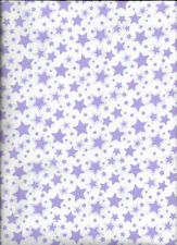 New Starry Nights White with Purple Stars Flannel Fabric by the yard