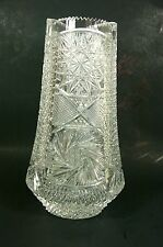 Vintage Cut Crystal Vase Artist Signed Large Brilliant Glass Vase