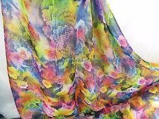 "US SELLER - 1 yard chiffon material fabric rainbow color 59"" wide retro flower"