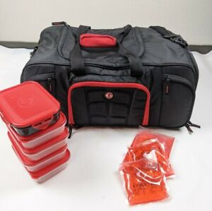 6 Pack Fitness Beast Duffle Black and Red Travel Fit Bag EUC